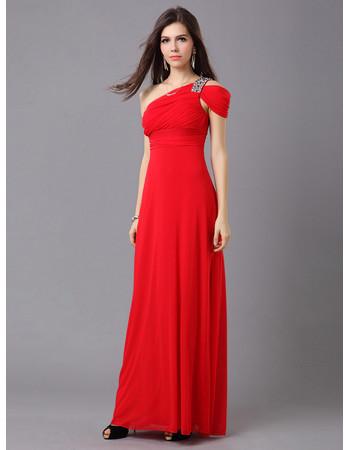 Affordable Women's Elegant One Shoulder Chiffon Floor Length Sheath Evening Dress