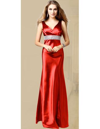Inexpensive V-Neck Sheath Taffeta Floor Length Evening Dress for Women