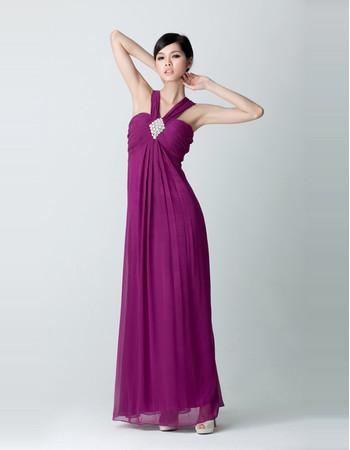 Empire Waist V-Neck Chiffon Floor Length Prom Evening Dress for Women