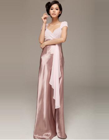 Women's Beautiful Cap Sleeves Sheath Sweetheart Floor Length Evening Dress for Sale