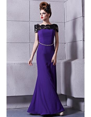 Chic Modern Off-the-shoulder Sheath Floor Length Satin Prom Evening Dress for Women