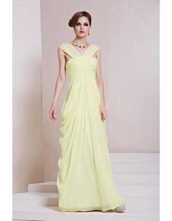 Inexpensive Amazing Chiffon V-Neck Sheath Floor Length Prom Evening Dress for Women
