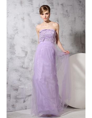Custom Classic Sheath/ Column Strapless Floor Length Chiffon Evening Dress for Prom