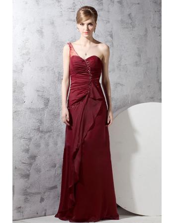 Cheap Classy One Shoulder Chiffon Long Sheath Evening Dress for Women