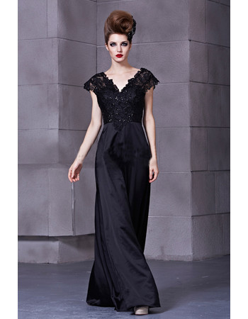 Inexpensive Classic Black V-Neck Long Satin Sheath Prom Evening Dress for Women