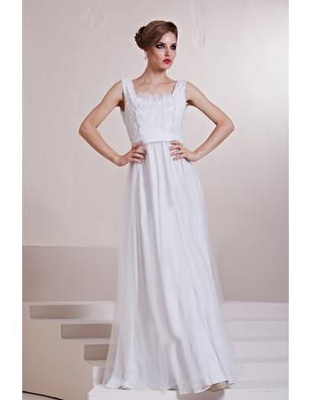 Beautiful Square Long Satin Column/ Sheath White Prom Evening Dress