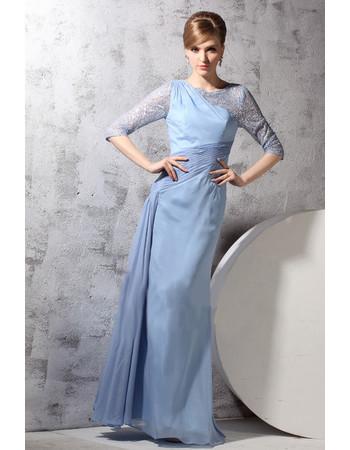 Beautiful Modern Long Sleeves Chiffon One Shoulder Floor Length Evening Dress