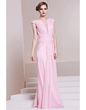 Cheap Classy Sheath/ Column Chiffon Bateau Long Formal Evening Dress for Women