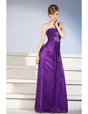 Custom Designer One Shoulder Floor Length Satin Sheath Purple Evening Dress for Women