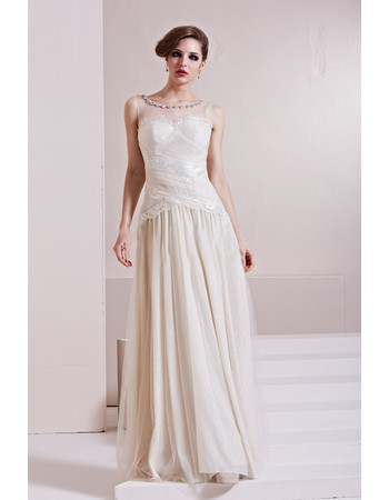 Designer Sexy Chiffon Tulle A-Line Floor Length Bateau Formal Evening Dress for Women