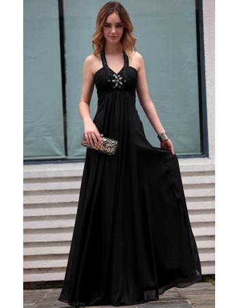 Beautiful Elegant Black Halter Chiffon Sheath Long Black Evening Dress for Women