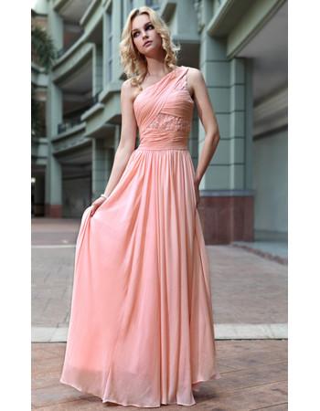 Affordable Designer One Shoulder Chiffon Floor Length Sheath Evening Dress