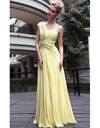 Designer Celebrity One Shoulder Chiffon Sheath Floor Length Evening Dress