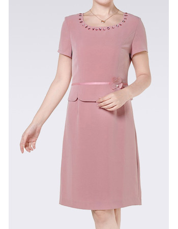 Women's Stylish Chiffon Short Sleeves Short Column Mother of the Bride Suits