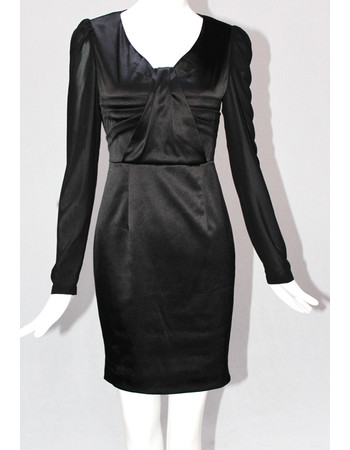 Affordable Custom Designer Sheath Black Long Sleeves Short Mother of the Bride Dress
