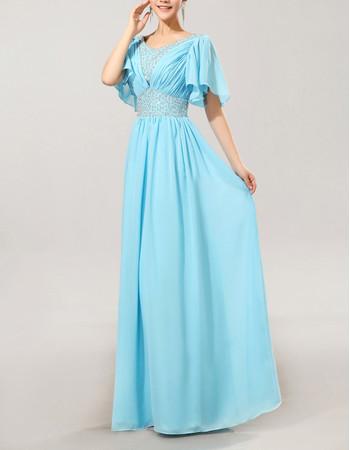 Stylish Modest Cap Sleeves Chiffon V-Neck Long Mother of the Bride Dress