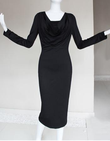 Stylish Modern Tea Length Sheath Satin Mother of the Bride Dress with Long Sleeves