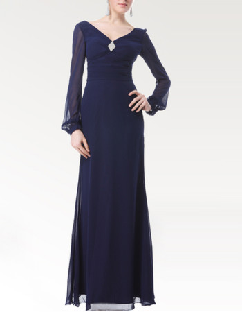 Affordable Classy Long Sleeves Chiffon Floor Length Mother of the Bride Dress for Wedding
