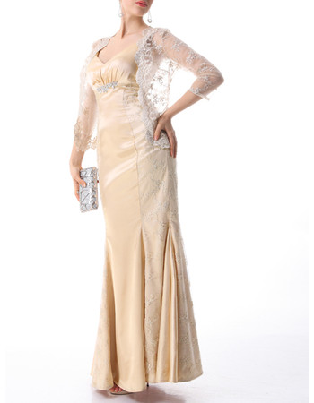 Inexpensive Designer Mermaid Floor Length Mother of the Bride Dress with Lace Jackets