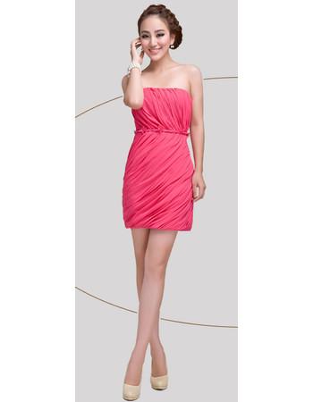 Beautiful Column Strapless Short Chiffon Homecoming/ Graduation Dress for Girls