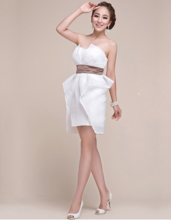 Pretty Column Strapless Chiffon Short White Junior Homecoming/ Graduation Dress for Girls