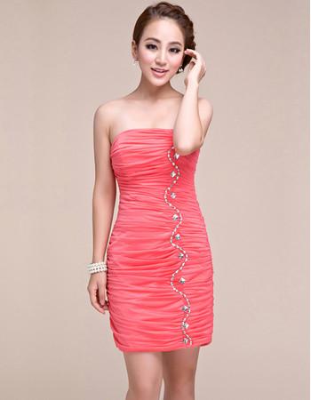 Pretty Sheath Strapless Short Chiffon Homecoming/ Graduation Dress for Girls