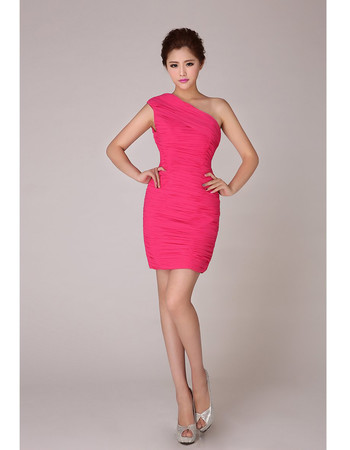 Simple One Shoulder Short Sheath/ Column Chiffon Homecoming Dress for Girls