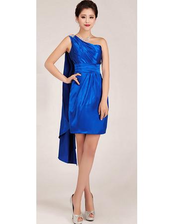 Custom Classic One Shoulder Short Sheath Blue Satin Homecoming Dress for Girls