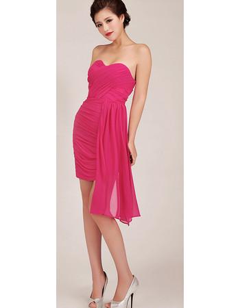 Beautiful Asymmetric Sheath Sweetheart Short Chiffon Homecoming Dress for Girls