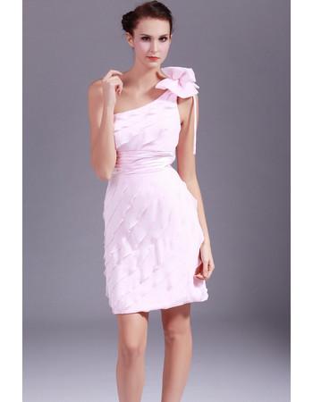 Beautiful One Shoulder Chiffon Tiered Short Sheath Homecoming Dress for Girls