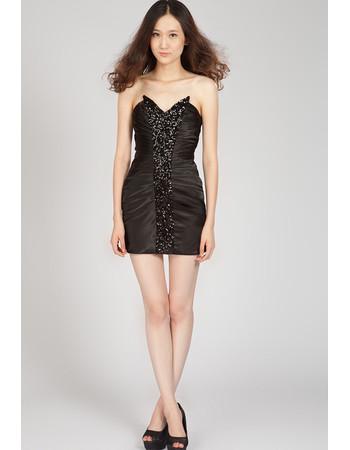 Pretty Sweetheart Satin Sheath/ Column Short Black Junior Homecoming Dress for Girls