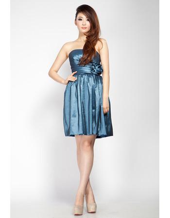 Discount Column Strapless Short Taffeta Junior Homecoming Dress for Girls