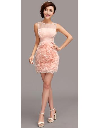 Affordable Girls Tight Column Short Chiffon Ruffle Cocktail Homecoming/ Party Dress