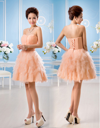 Affordable Beautiful A-Line Sweetheart Short Tiered Homecoming Dress