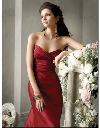 Cheap Women's A-Line Strapless Sleeveless Chapel Floor Length Satin Prom Dress