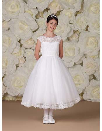 Girls Pretty A-Line Tea Length Lace Flower Girl/ Holy First Communion Dress