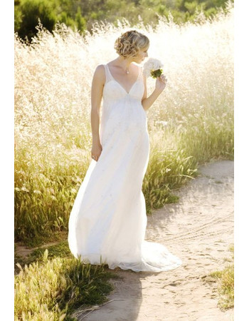 Affordable Empire V-Neck Floor Length Chiffon Maternity Wedding Dress/ Discount Long Bridal Gown