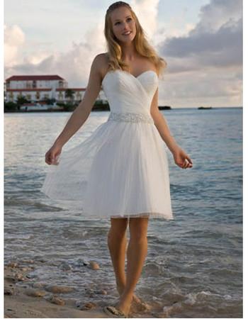 Classic Charming A-Line Sweetheart Knee Length Short Beach Wedding Dress