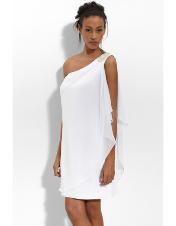 Informal Column/ Sheath One Shoulder Chiffon Mini/ Short Beach Wedding Dress