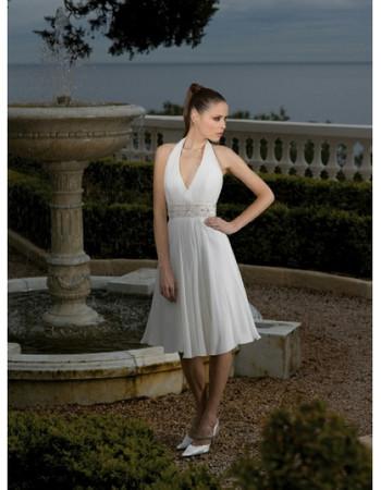 Inexpensive Modest Halter Chiffon Knee Length Short Beach Wedding Dress