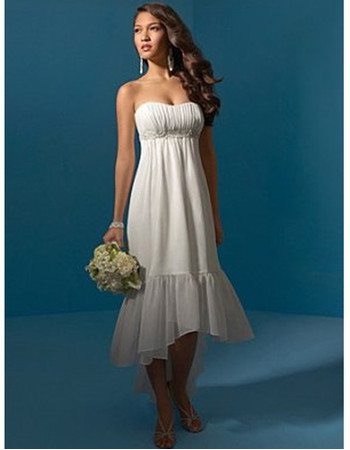 Classic Charming Chiffon Asymmetric High-Low Beach Wedding Dress