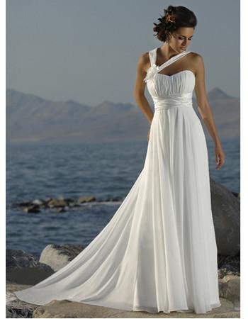 Cheap Classy A-line Halter Chapel Train Chiffon Summer Beach Bridal Wedding Dress