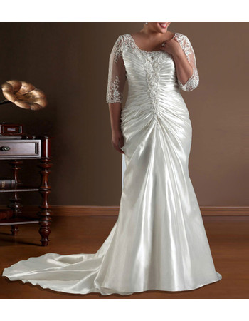Inexpensive Chic Mermaid Sweep Train Satin Plus Size Wedding Dress with Sleeves
