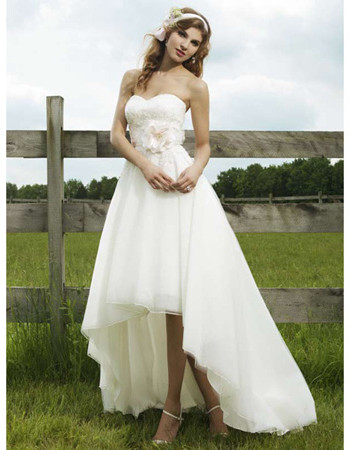 Inexpensive Chic A-Line Sweetheart High-Low Hem Wedding Dress/ Unique Asymmetrical Garden Bridal Gown
