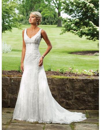 Elegant Mermaid V-Neck Chapel Train Tulle Garden Wedding Dress/ Bridal Gown