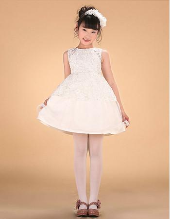 Adorable A-Line Mini/ Short Satin Applique Flower Girl Dress
