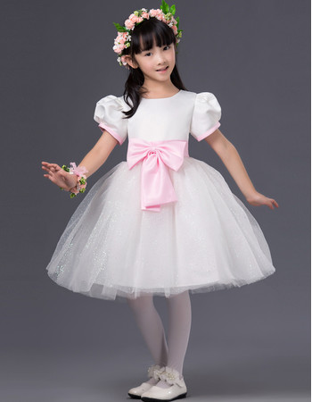Adorable Ball Gown First Communion Dress with Bubble Sleeves and Bows