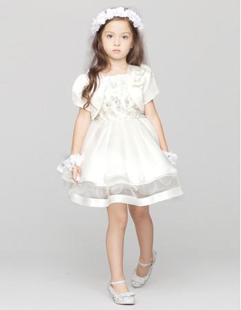 Ball Gown Short Satin Flower Girl Princess Dress with Jackets