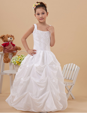 Affordable Pretty Ball Gown Pick-Up Skirt Taffeta First Communion Dress