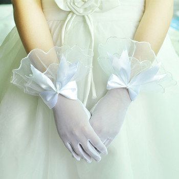 Beautiful Wrist Tulle Flower Girl/ First Communion Gloves with Bow